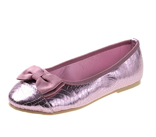 Rugged Bear Girls Croco Print Ballet Flats with Bow, Pink Size 2'