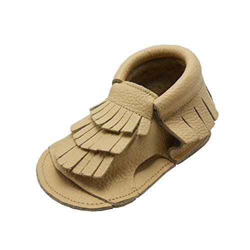 Sayoyo Baby Lauflernschuhe Weiche Leder Rutschfest Babyschuhe Sandale(18-24 Monate, Rosa) Beige