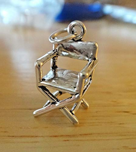 Fine Charms Sterling Silver 3D 17x10mm Theater Garden Furniture Director's Chair Chair Sterling Silver Charm