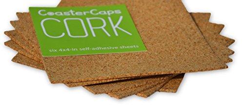 4x4 Self-Adhesive Cork Sheets (6 Pack) by CoasterCaps
