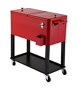 UPHA 80 Quart Rolling Ice Chest Portable Patio Party Bar Drink Entertaining Outdoor Cooler Cart on Wheels with Shelf,Red