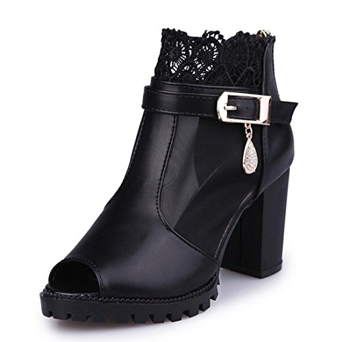 Lolittas Summer Gladiator Diamante Sandals for Women Ladies, Bling Lace High Block Heel Wedge Platform Wide Fit Peep Toe Slingback Cushioned Shoes Size 2-6 Black