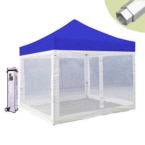 Foldable Gazebo (Eurmax PRO 10 X 10 Canopy Mesh Screen Tent Foldable Gazebo with Mesh Walls and Wheeled Carry Bag (Blue))