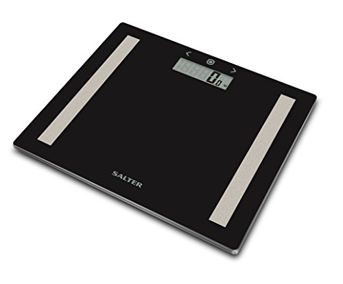 Salter Compact Body Analyser Bathroom Scales, Measure Weight BMI Body Fat Body Water, Ultra Slim Toughened Glass, 8 User Memory, Easy to Read Digital Display, Instant Reading Step-On Feature - Black