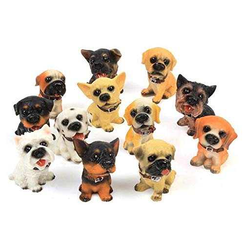 SMART DK 12-Pack Puppy Dog Toy Figurines, High Emulational Detailed Dog Toy Statues Set, Hand Painted Realistic Dog Toy Set (12-Pack) (Puppy Figurine Dog)