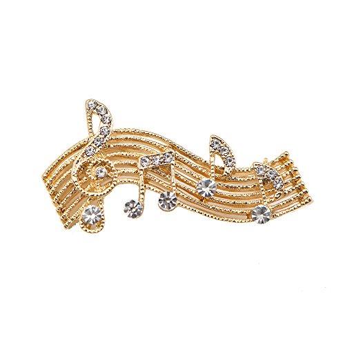 chelseachicNYC Tiny Jewel Crystal Music Note Melody Brooch Pin Gold -
