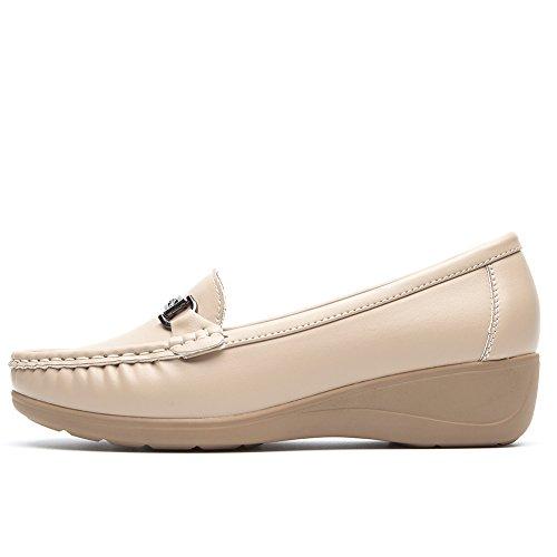 Mocassini Zeppa Donna Flat per Donna Scarpe la Loafers Scarpe Migliore Nero Scelta per Pelle Stagioni Beige con Tutte Le Platform Cestfini per Camminare Comode Tzxp05q