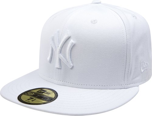 MLB New York Yankees White on White 59FIFTY Fitted Cap, 7 ()