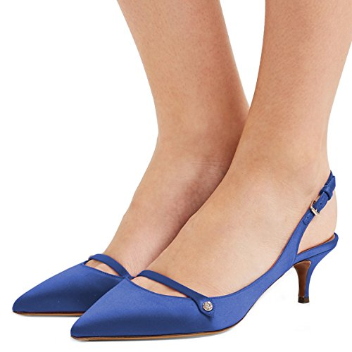 XYD Women Pointed Toe Mid Kitten Heel Slingback Sandal Pumps Slip On Patent Satin Dress Shoes Size 10 Royal Blue-Satin