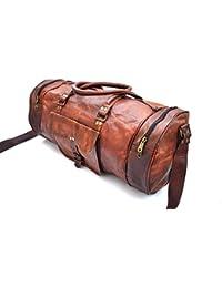 Genuine Leather Mens Duffle Gym Bag Sports Weekend Bag Carry on Bag