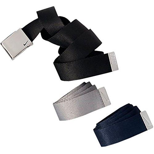 Nike Black Belt (Nike Men's 3 Pack Web Belt, black/Grey/Navy, One)