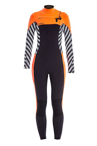 Glidesoul Women's Vibrant Stripes Collection 5mm Full Wetsuit, Stripes Print/Black/Peach, Medium by GlideSoul