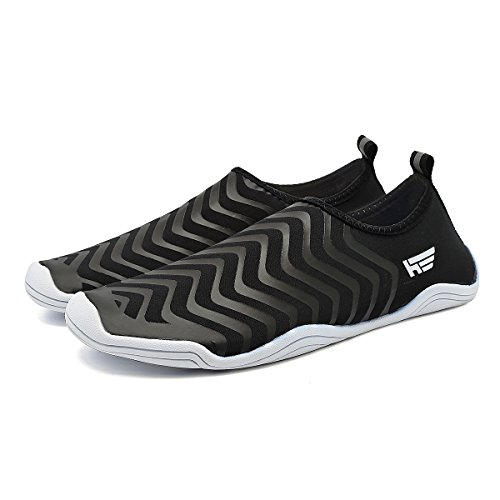 Fanture Men Womens Water Sports Quick-Dry Aqua Shoes With 18 Drainage Holes For Wading,Swim,Walking,Yoga,Beach,Drainage Black3