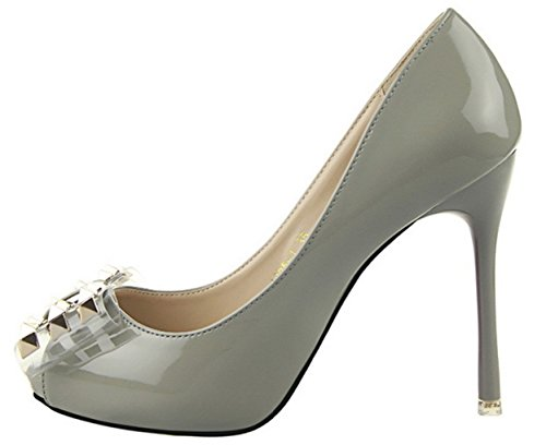 HooH Women's Peep Toe Rivet Bowknot Pumps 1985-1 Grey gWf8Dxui4V