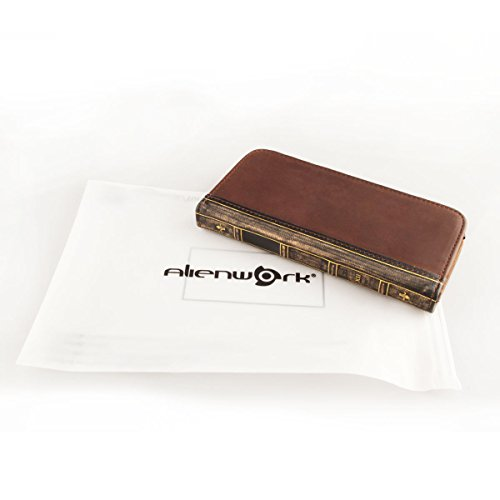 Alienwork Schutzhülle für iPhone 6 Plus/6s Plus vintage Brieftasche Hülle Case Stoßfest Portemonnaie Leder braun AP6P02-02