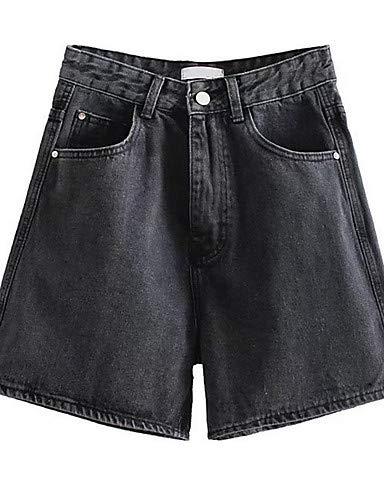 YFLTZ Pantalon Jeans Femme - Taille Haute Couleur Unie Black