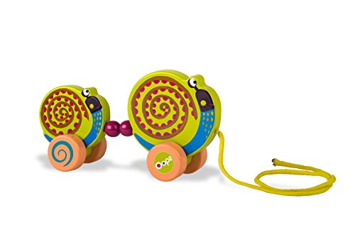 Oops! 17005.13 Wooden Collection Easy-Family Snail Pulling Toy, Multi-Color
