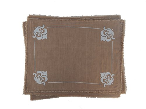 Gitika Goyal Home Cotton Khadi Silver Hand Block Printed Flower Emblem Design Mat (Set of 4), 13 by 17 '', Khaki by Gitika Goyal Home