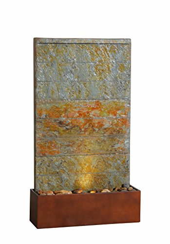 Kenroy Home 51020SLCOP Stream Indoor/Outdoor Floor Fountain with Light, 33 Inch Height, Natural Green Slate and Copper Finish