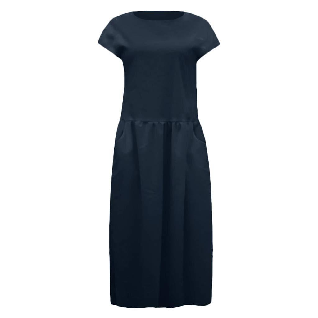 Women's Cotton Linen Dresses Cap Sleeve Summer Maxi O Neck Dress with Pockets Navy by Jianekolaa_Dress (Image #7)