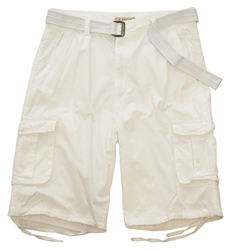Access Men's Washed Cargo Shorts with Belt (36, White)