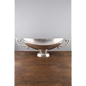 Metal Boat Bowl Silver 22in - Excellent Home Decor - Outdoor Indoor 117