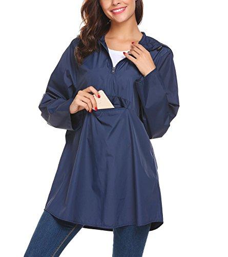 - Zeagoo Women's Waterproof Packable Rain Jacket Batwing-Sleeved Poncho Raincoat Navy XXL