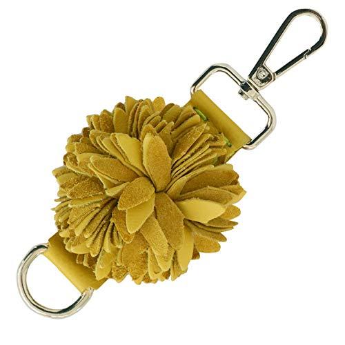 Genuine Leather Handmade Pom Pom Charms | Key Ring Keychain | for Tassel Bags Purse Backpack (Yellow - Pom -