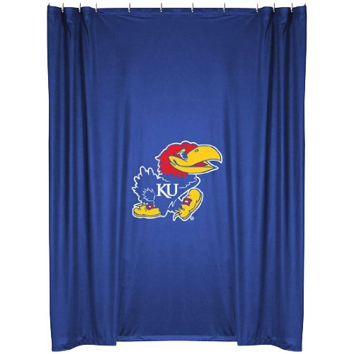 Kansas Jayhawks COMBO Shower Curtain, 4 Pc Towel Set & 1 Window Valance/Drape Set (63 inch Drape Length) - Decorate your Bathroom & SAVE ON BUNDLING! by Sports Coverage