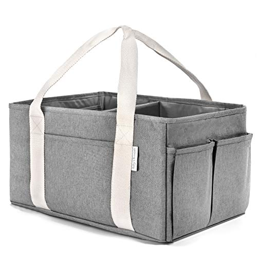 Large Baby Diaper Caddy Organizer, Grey, with Multiple Pockets & Compartments :: Collapsible, Portable Holder with Handle for Nursery, Unisex for Boys & Girls :: Durable, Easy to Clean Cloth