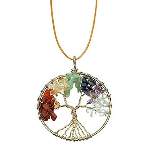 Ckysee Jewelry Tree of life pendant Amethyst Rose Crystal Necklace Chakra Gemstone gifts for women - Life Pendant Wire