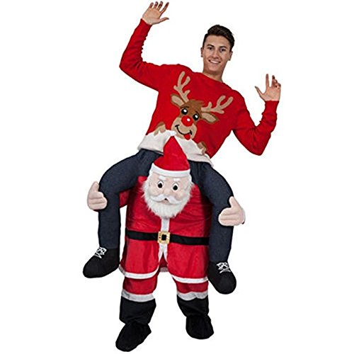 Adult Fancy Party Dress Costume Carry Me Santa Claus Ride On Christmas Mascot Pants -