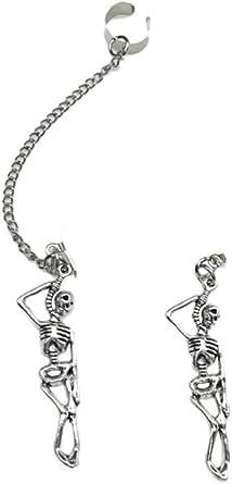Hip Hop Skeleton Stud Earrings Gothic Skull Bone Climber Crawler Threader Chain Wrap Cuffs Earring Punk Personalized for Women Girls Halloween Cosplay