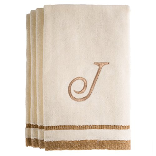 Monogrammed Gifts, Fingertip Towels, 11 x 18 Inches - Set of 4- Decorative Golden Brown Embroidered Towel - Extra Absorbent 100% Cotton- Personalized Gift- For Bathroom/ Kitchen- Initial J (Ivory) (Beach Towel Playboy)