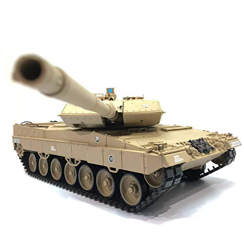 Heng Long Pro Edition Remote Control 2.4Ghz 1/16 Scale German Leopard 2 A6 RC Main Battle Tank with Metal Gear Tracks, Airsoft RC Tank, Desert Color