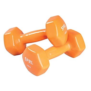 SPRI Deluxe Vinyl Dumbbells (Orange, 10-Pound,Set of 2)