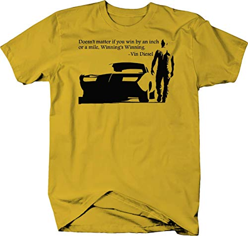 Vin Diesel Fast Furious Charger Racing Win by an Inch Quote Tshirt - Large (Vin Diesel Wife In Fast N Furious)