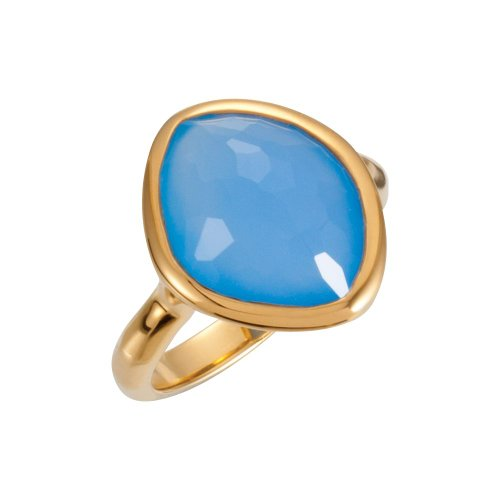 18K Vermeil 15x11x6mm Blue Chalcedony Ring Size 7 , 18kt Yellow gold vermeil, Ring Size 7 by Security Jewelers