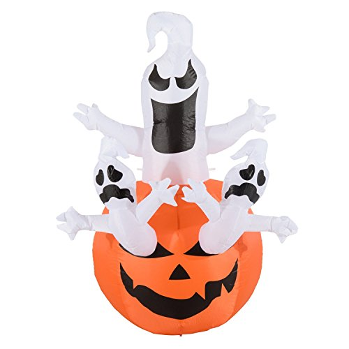 6 Foot Halloween Inflatable Decoration Airblown Pumpkin with 3 Ghosts for Home Yard Garden Indoor and Outdoor Decor -