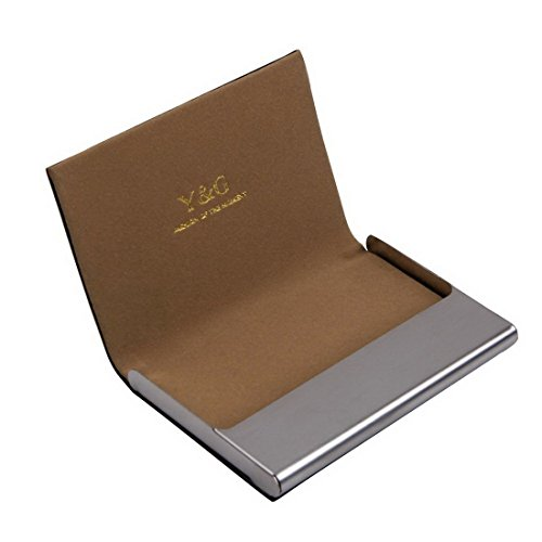 Brown business card case fashion gift Black Stainless Steel Y&G Artificial leather card case with gift box CC1002