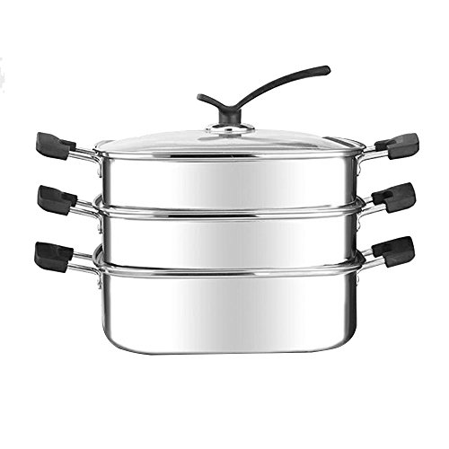 HUKOER Food Steamer Food grade 304 stainless steel square steamer steamed soup pot hot pot induction cooker household stoves by HUKOER
