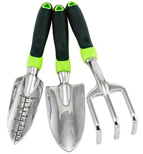 Gardening Tool Set - 3 Piece Ergonomic Aluminum Urban Garden Kit with Trowel, Transplanter, Cultivator by Rebel Gardens