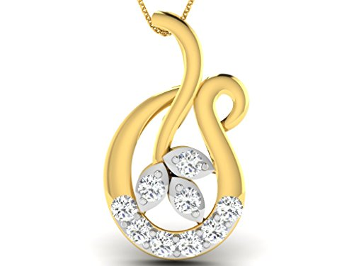 Or Jaune 14 ct Pendentifs Diamant , 0.05 Ct Diamant, GH-SI, 0.45 grammes.