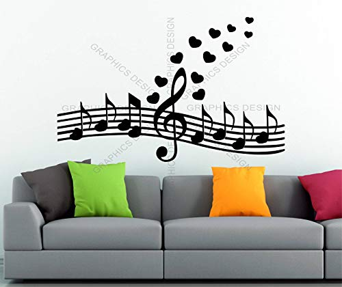 Wall Vinyl Decals Hearts Treble Clef Sol Key Music Notes Treble Decor Vinyl Wall Sticker Decal Art Made in ()