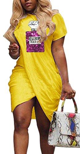 Domple Femmes Sexy Ras Du Cou À Manches Courtes Paillettes D'emballage Mini Robe Moulante Fête Jaune