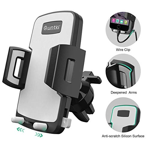 Cell Phone Holder for Car, Universal Car Holder Phone Mount, Quntis Car Air Vent Stand Cradle 360 Rotation Compatible with iPhone Xs XR X 8 7 6 Plus Samsung S10 S9 S8 Plus LG Motorola Pixel Nexus