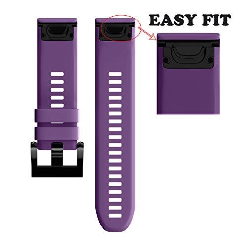 ANCOOL for Garmin Fenix 5 Band Easy Fit 22mm Width Soft Silicone Watch Strap for Garmin Fenix 5 - Purple