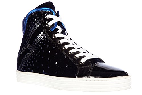 Hogan Rebel scarpe sneakers alte donna in camoscio nuove rebel r182 paillettes e