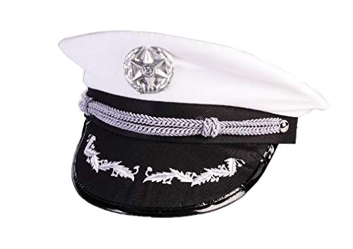 Adult Size Deluxe White Navy Officers Hat - Costume Accessory ()