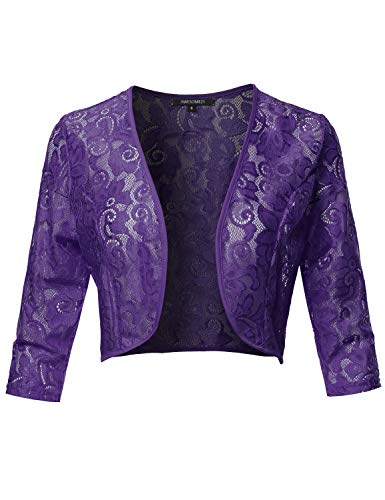 3/4 Sleeve Floral See-Through Lace Shrug Bolero Cardigan Top - Made in USA Purple S